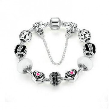 Silver Plated Butterfly & Heart Beads With White Glass Beads European Fashion Bracelet for Women Jewelry PA1496