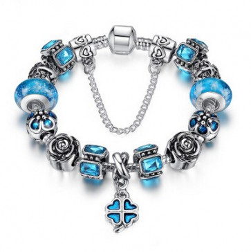 2016 June New Antique Silver Blue Charm Bracelet With Exquisite Four Leaf Clover Pendant Authentic Safety Chain Jewelry