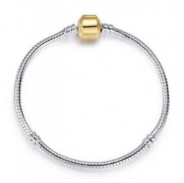European Silver Snake Chain Bracelet with Gold Barrel Clasp fit for Bead Charms 18CM 20CM 21CM