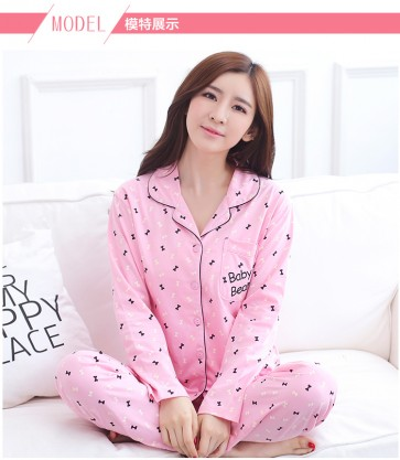 2016 Spring Autumn Pink Color Cardigan sleeve length sleepwear for woman 100% Cotton