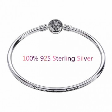 2018 New 100% 925 Sterling Silver Bracelet Love Snowflake pattern Basic bracelet Best Gift for woman jewelry