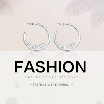 Authentic 925 Sterling Silver Unique Happy Letters Large Big Hoop Earrings for Women Party Fine Jewelry