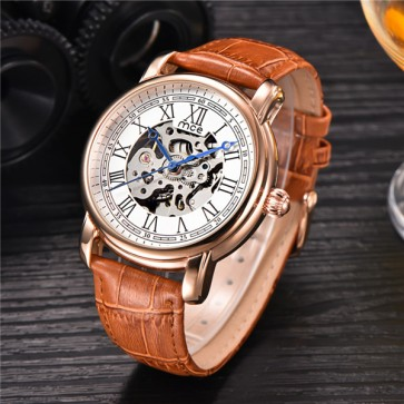 Mens Watches Stainless Steel Band Calendar Clock Men Automatic Mechanical Business Watch  Leather strap