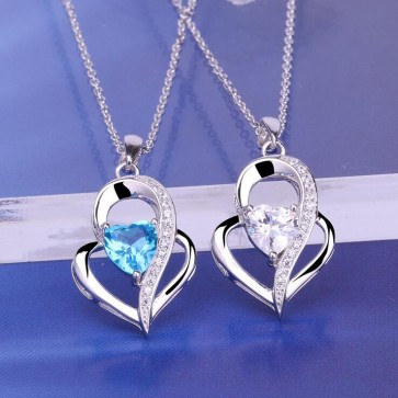 2018 New 925 sterling silver Heart-shaped necklace Female sea Blue Zircon pendant Simple clavicle chain for woman jewelry
