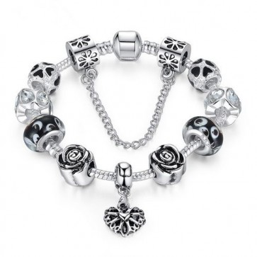 Original 925 Silver Heart Charm Bracelet Silver with Safety Chain & Black Beads(free shipping)