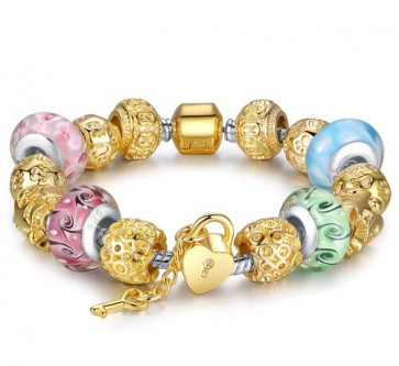 Gold Plated Charm Bracelet & Bangle for Women With High Quality Multicolor Murano Glass Beads DIY Birthday Gift