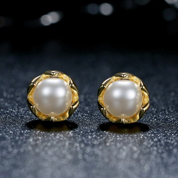 2017 new vintage tiff style Natural pearl 100% 925 sterling silver Gold earrings of women love Jewelry wedding gift