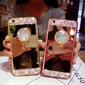 Luxury Crystal Rhinestone Bling Diamond Glitter Mirror Case Ring Stand for Samsung S8/S7/S7edge/S6/S6Edge/S5/S4/S3/Note5/4/3