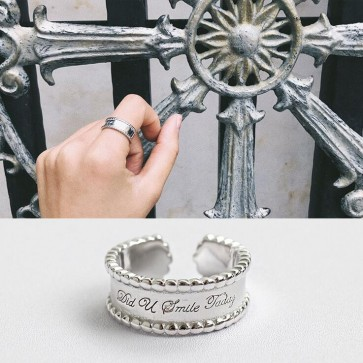 2018 Korean style  S925 sterling silver  Fashion personality  CHIC wind simple bead wide side  English Word open ring