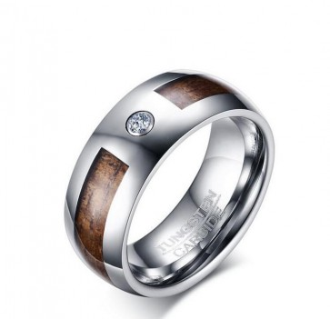 8MM tungsten steel ring single zircon