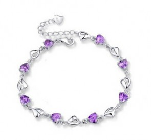 New 925 Silver Charm   Fashion  Bracleet   high quality  purple Color Free Shipping