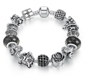 925 Silver Retro Beads Rose Car Black Ball Murano Beads Fit Pandora Bracelets
