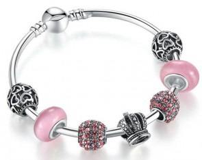 Elegant 925 Silver Charm Fit Pandora Bracelet Bangle with Open Your Heart & Crown Charm Pink Murano Glass Ball