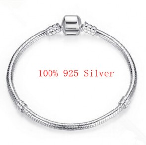 100% 925 Sterling Silver Snake Chain Bangle & Bracelet Luxury Jewelry PAS902