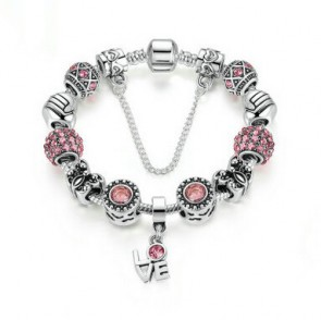 Silver Plated Pink CZ Friendship Butterfly Beads LOVE Pendant & Safety Chain Bracelet & Bangle for Women Fashion Jewelry PA1495