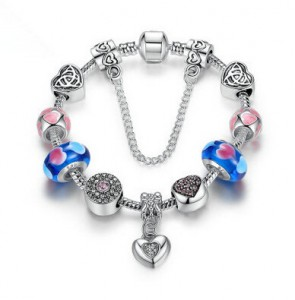 2016 Strand Bracelet Silver Plated Friendship Bracelets with Blue Heart Charms DIY Girl Bracelet Accessories