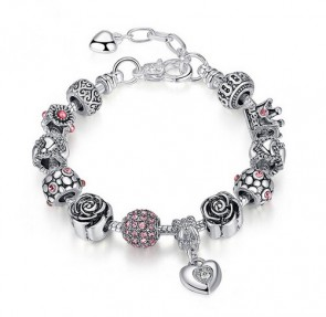 Wholesale Authentic Silver Bead Bracelets with Crown Rose Pink Ball Beads And Pendants for New Year Gift PA1468