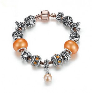 Safety Chain Silver Plated Charms Bracelet with Rose Glod Heart Pendant & Orange Beads Women Bracelet Jewelry