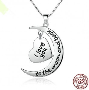 925 Sterling Silver Heart & Moon Letter Pendant Necklace I Love You, To The Moon And Back Romantic Gift For Lover