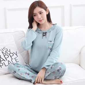Spring Autumn Cardigan sleeve length sleepwear for woman 90% Cotton