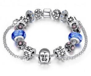 Silber Charme Armband für Frauen Mit Exquisite Blaue Blume Glas Bead Sicherheitskette Mode Kristall Schmuck