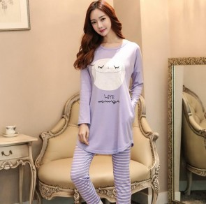 Fashion Women Sleepwear Pajamas Set Ladies Long Sleeve Cotton Cute Nightgow