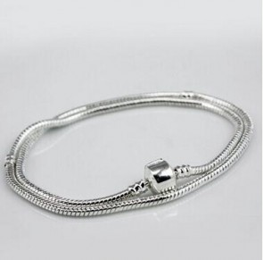2016 New Fashion Silver 45CM Snake Chain Necklace Pendant Fit Original Charms Authentic Beads