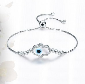 Authentic 925 Sterling Silver White Opel Fatima Hand Guardian Adjustable Bracelet For Women Wedding Fine Jewelry