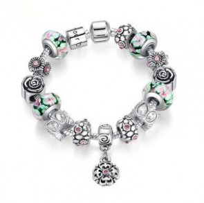 Authentic Silver Strand Bracelet with Colorful Glass Beads Flower Bracelet for Women Bracelet Jewelry
