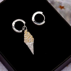 Europe style Fashion jewelry accessories metal ice cream asymmetrical stud earrings for women jewelry