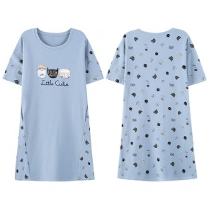 Lycorissmart Juniors Sleep Shirt Nightgown Large Light Blue with Kitty Cat Design Size-L