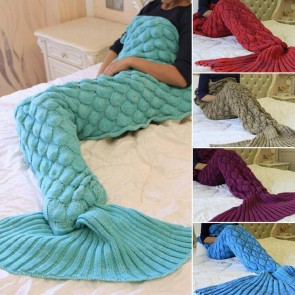 Soft Handcrafted Knitted Shark Tail Mermaid Blanket Sleeping Bag Air Conditioning Blanket for Kids Adult