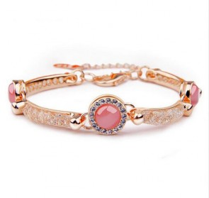 Luxury Rose Gold Plated Bracelet with Red Opal For Women Wedding AAA Zircon Crystal Jewelry
