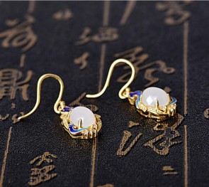 2018 Glod Woman Drop Earrings for women wedding Fine Jewelry