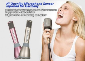 2016  Karaoke Player Wireless Bluetooth Music Condenser Microphone With Mic Speaker KTV Singing Record For Phones Computer