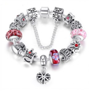 Queen Jewelry Silver Charms Bracelet & Bangles With Queen Crown Beads Bracelet for Women PA1823