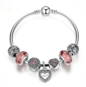 Simple Friendship Bracelets Silver Plated Heart Pendant Bracelets with European Beads Girl Bracelet Jewelry