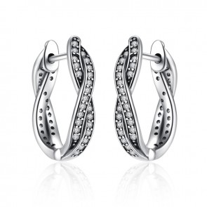 Authentic 925 Sterling Silver Twist Of Fate Earrings, Clear CZ Earrings for Women Compatible With Jewelry