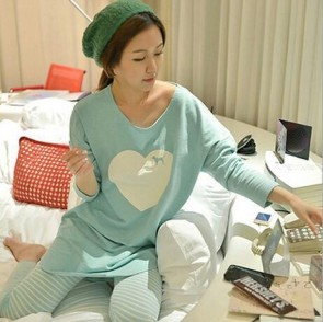 Fashion Women Sleepwear Pajamas Set Ladies Long Sleeve Cotton Cute Nightgow Green Pj  tops