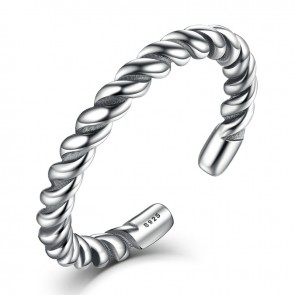 2017  Authentic Sterling Silver 925 Simple Twisting Rope Finger Stackable Open Adjustable Ring Women & LadyFine Jewelry