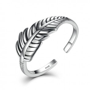 2017 Hot Sale Authentic 925 Sterling Silver Feather Vintage Band Cuff Adjustable Open Ring for Women Fine Jewelry