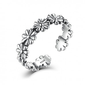 2017 New Pure Silver Flower Floral Adjustable Open Finger Rings 925 Sterling Silver for Women Wedding Gift Rings LY46